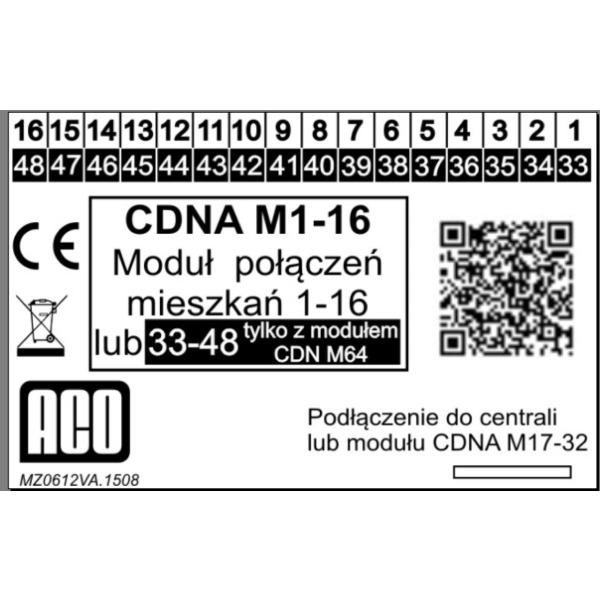 Moduł połączeń mieszkań 1 – 16 do CDNA ACO CDNA M1 16