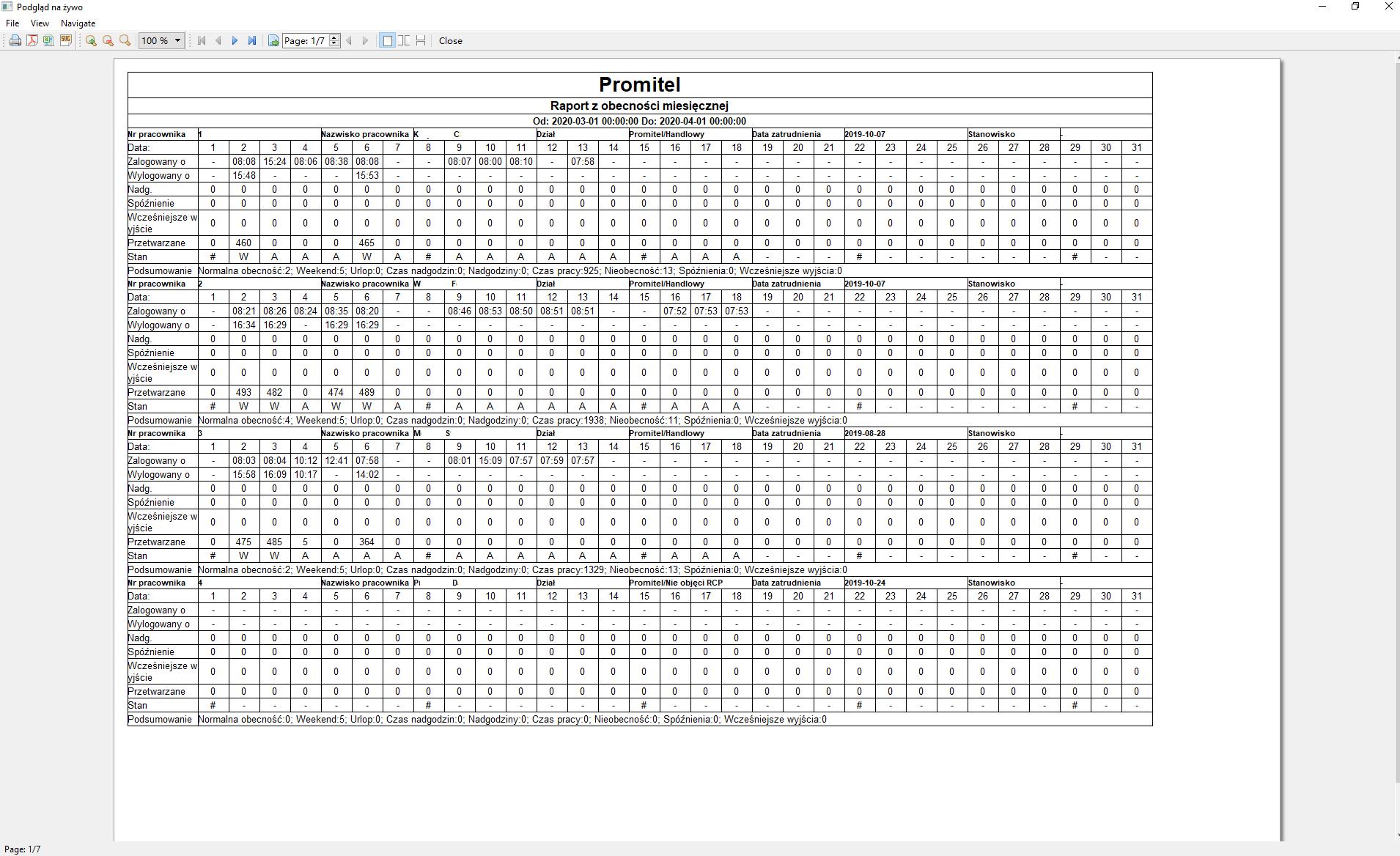 Raport z obecności miesięcznej iVMS-4200 RCP