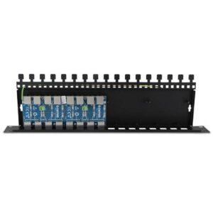 16-kanałowy panel zabezpieczający serii PRO z podwyższoną ochroną przepięciową RJ45 / RJ45 z funkcją InPoE EWIMAR PTF-16R-PRO/InPoE
