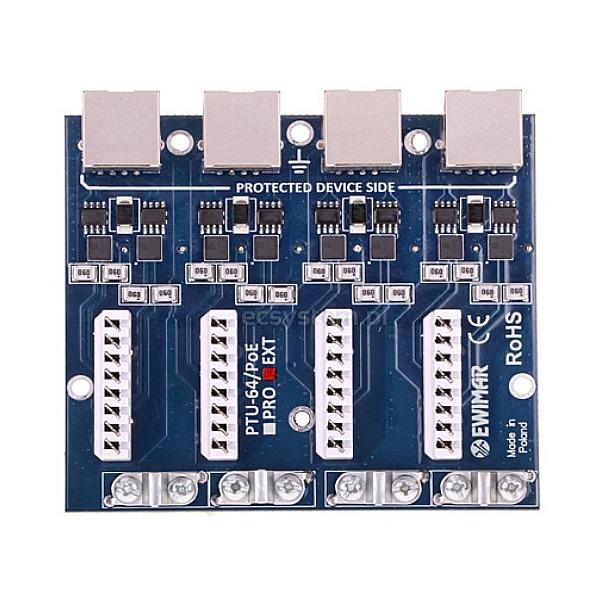 4-kanałowy moduł ogranicznika przepięć sieci LAN Gigabit Ethernet EWIMAR PTU-64-EXT/PoE
