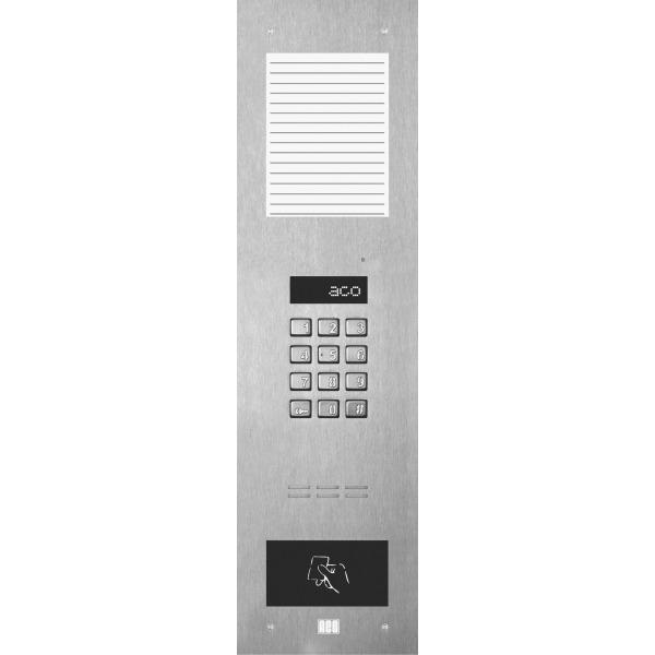 Domofon cyfrowy z zamkiem szyfrowym, średnią listą opisową oraz czytnikiem zbliżeniowym ACO INSPIRO 13S