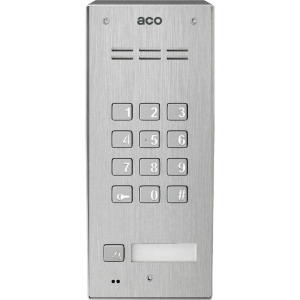 Domofon cyfrowy z zamkiem szyfrowym, czytnikiem breloków oraz 1 przyciskiem ACO FAM-P-1NPZSACC NT