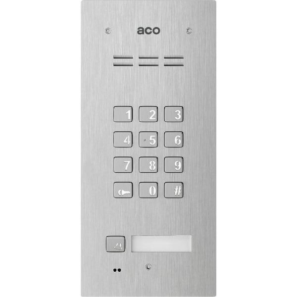 Domofon cyfrowy z zamkiem szyfrowym, czytnikiem breloków oraz 1 przyciskiem ACO FAM-P-1NPZSACC