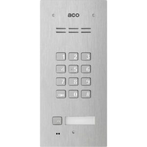 Domofon cyfrowy z zamkiem szyfrowym, czytnikiem breloków oraz 1 przyciskiem ACO FAM-PRO-A-1NPZSACC