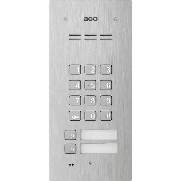 Domofon cyfrowy z zamkiem szyfrowym, czytnikiem breloków oraz 2 przyciskami ACO FAM-PRO-A-2NPZSACC