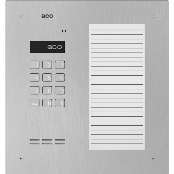 Domofon cyfrowy z zamkiem szyfrowym, dużą listą opisową oraz czytnikiem zbliżeniowym ACO INSPIRO 17ACCS+