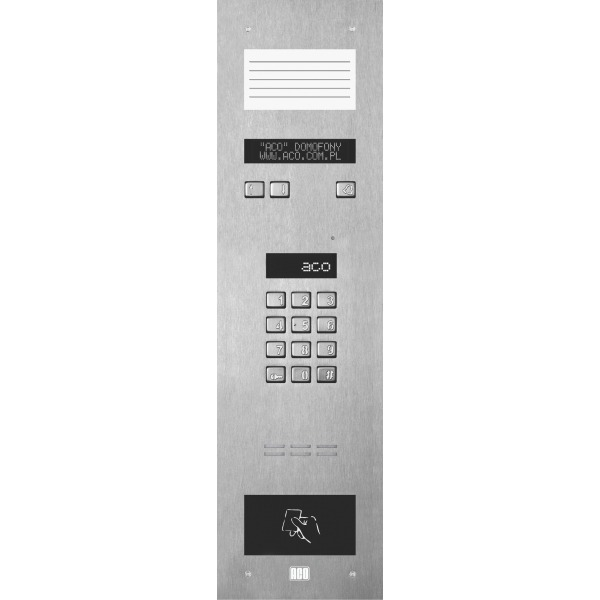 Domofon cyfrowy z zamkiem szyfrowym, małą listą opisową, elektroniczną listą oraz czytnikiem zbliżeniowym ACO INSPIRO 14S