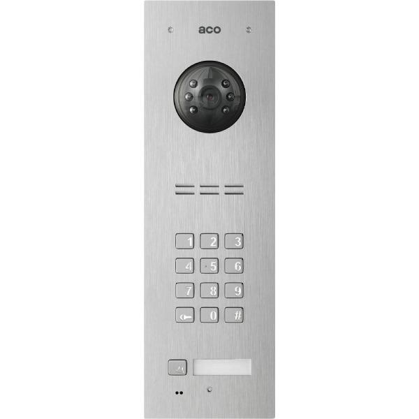 Wideodomofon cyfrowy z zamkiem szyfrowym, czytnikiem breloków oraz 1 przyciskiem ACO FAM-PRO-1NPZSACC