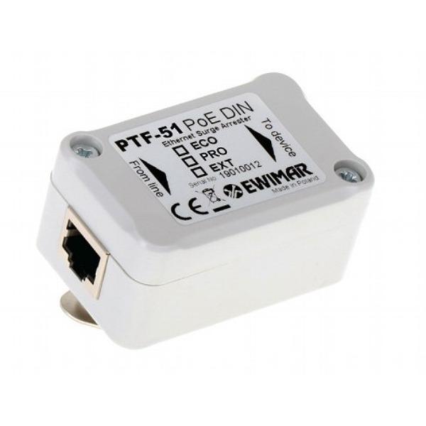 Ochronnik przeciwprzepięciowy do sieci LAN i kamer IP EWIMAR PTF-51-EXT/PoE/DIN