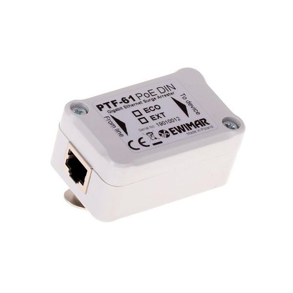Ogranicznik przepięć sieci LAN Gigabit Ethernet na szynę DIN EWIMAR PTF-61-EXT/PoE/DINOgranicznik przepięć sieci LAN Gigabit Ethernet na szynę DIN EWIMAR PTF-61-EXT/PoE/DIN