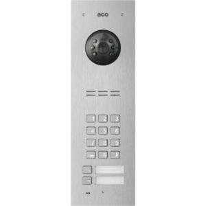 Wideodomofon cyfrowy z zamkiem szyfrowym, czytnikiem breloków oraz 2 przyciskami ACO FAM-PV-2NPZSACC