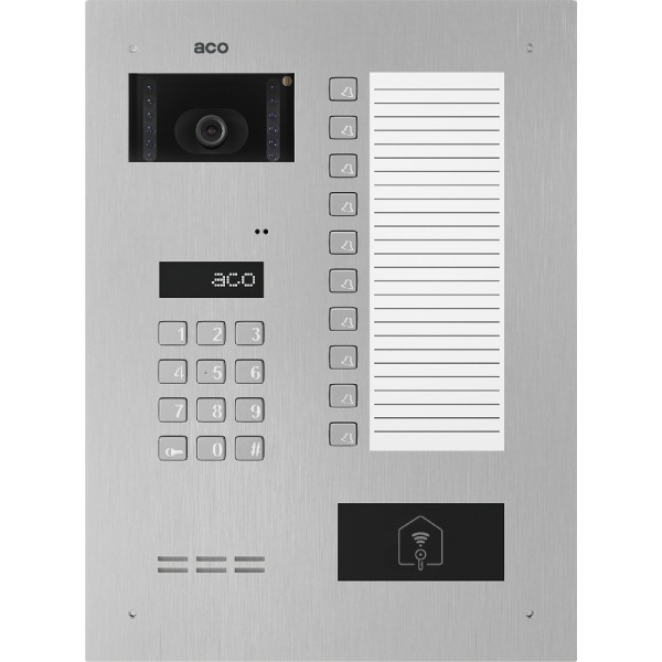 Wideodomofon cyfrowy z zamkiem szyfrowym, czytnikiem zbliżeniowym, 10 przyciskami oraz dużą listą opisową ACO INSPIRO 900+