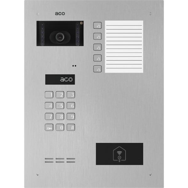 Wideodomofon cyfrowy z zamkiem szyfrowym, czytnikiem zbliżeniowym, 5 przyciskami oraz średnią listą opisową ACO INSPIRO 901S+