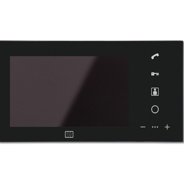 Wideomonitor cyfrowy, głośnomówiący ze szklanym frontem i kolorowym wyświetlaczem 7'' ACO MPRO 7 BK