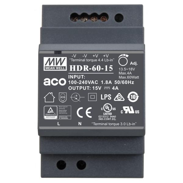 Zasilacz prądu stałego ACO PS-HDR-60-15MA