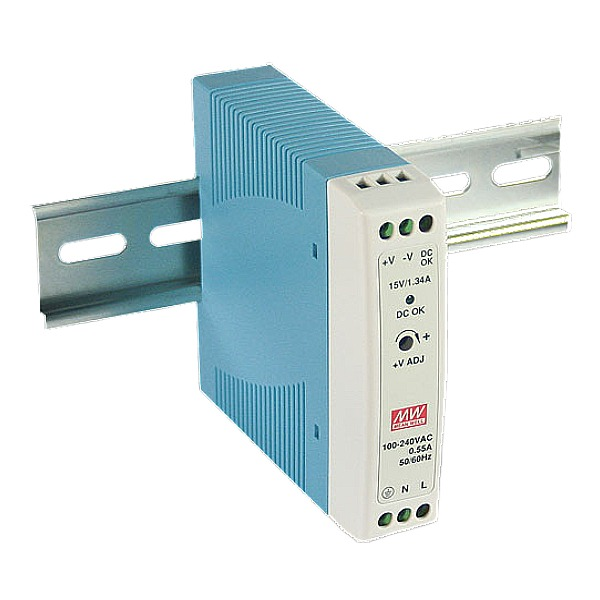 Zasilacz prądu stałego, na szynę DIN, z podłączeniem PE ACO PS-MDR-20-15