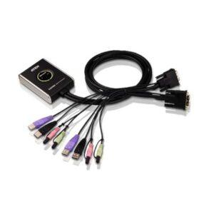 2-portowy przełącznik KVM USB DVI/Audio ze zdalnym selektorem portu ATEN CS682-AT