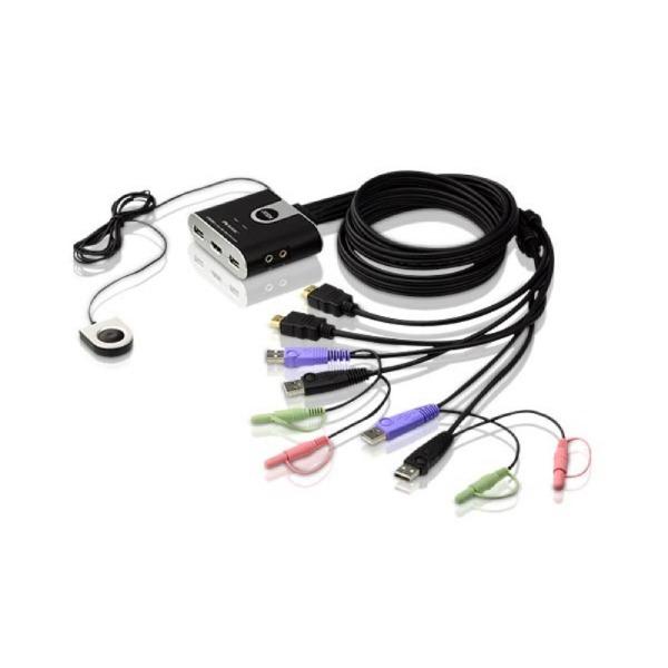 2-portowy przełącznik KVM USB HDMI/Audio ze zdalnym selektorem portu ATEN CS692-AT