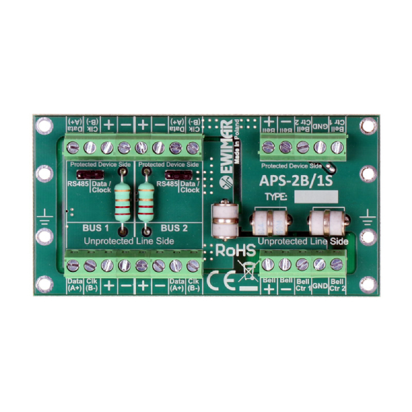 Ogranicznik przepięć magistrali i syreny systemu alarmowego EWIMAR APS-2B/1S