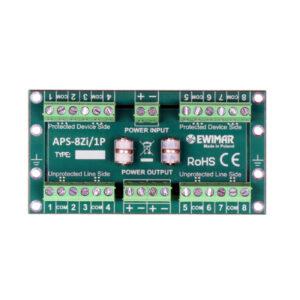 Zabezpieczenie 8 linii wewnętrznych centrali alarmowej i zasilania EWIMAR APS-8Zi/1P