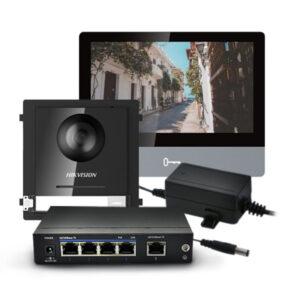 Zestaw wideodomofonowy ze stacją wewnętrzną DS-KH8520-WTE1 i modułem głównym