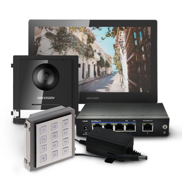 Zestaw wideodomofonowy ze stacją wewnętrzną DS-KH8520-WTE1, modułem głównym i klawiaturą