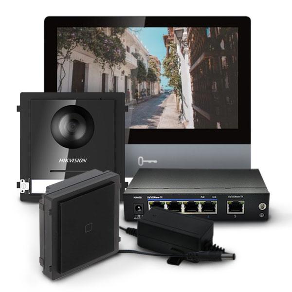 Zestaw wideodomofonowy ze stacją wewnętrzną DS-KH8350-WTE1, modułem głównym i czytnikiem kart