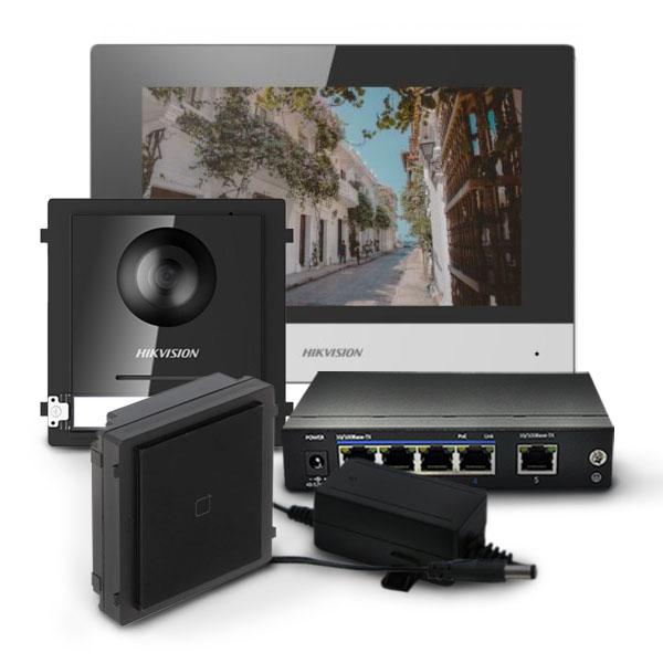 Zestaw wideodomofonowy ze stacją wewnętrzną DS-KH6320-WTE1, modułem głównym i czytnikiem kart
