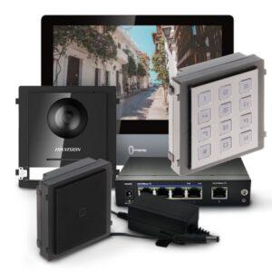 Zestaw wideodomofonowy z modułem kamery, czytnikiem zbliżeniowym, klawiaturą i 5 brelokami